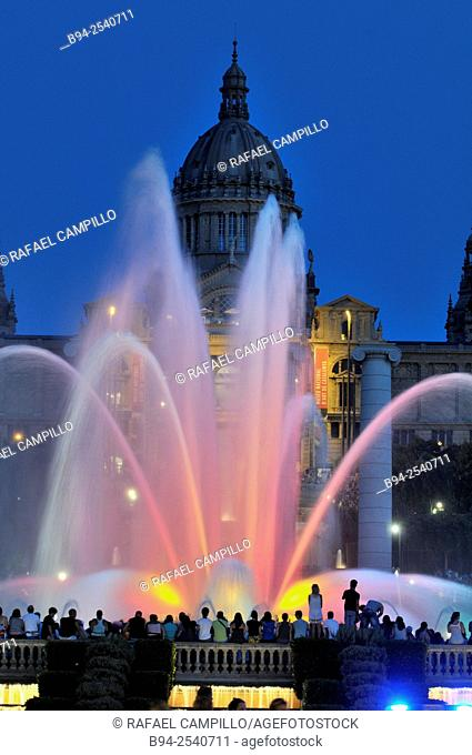 Magic Fountain of Montjuïc, Fuente mágica de Montjuic is a fountain located at the head of Avenida Maria Cristina in the Montjuïc neighborhood of Barcelona