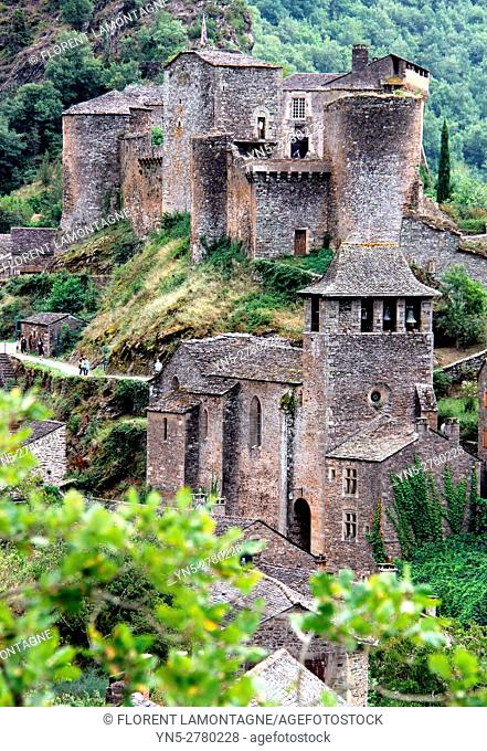 View on the village and castle of Brousse le Chateau, Aveyron, Occitanie, Languedoc, Roussillon, France