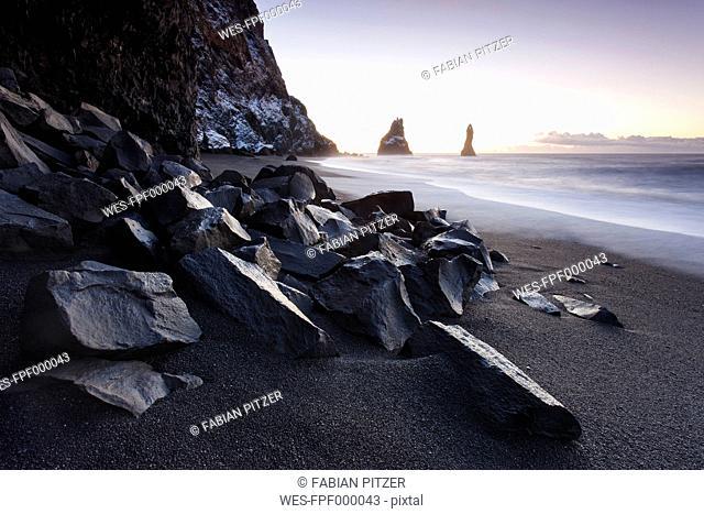 Iceland, Sudurland, Myrdalur, Vik i Myrdal, rock needles Reynisdrangar