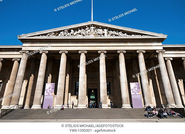 Front entrance to the British Museum in London,England