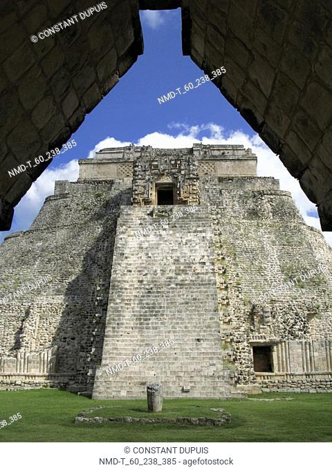 Low angle view of a pyramid, Pyramid Of The Magician, Uxmal, Yucatan, Mexico