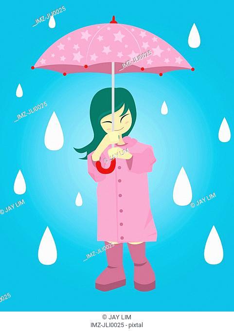 A girl holding an umbrella in the rain