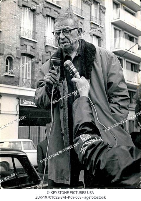 Oct. 22, 1970 - Philosopher Jean-Paul Sartre was expected at a correctional court in Paris where he was supposed to witness the trial of Alain Gesimar