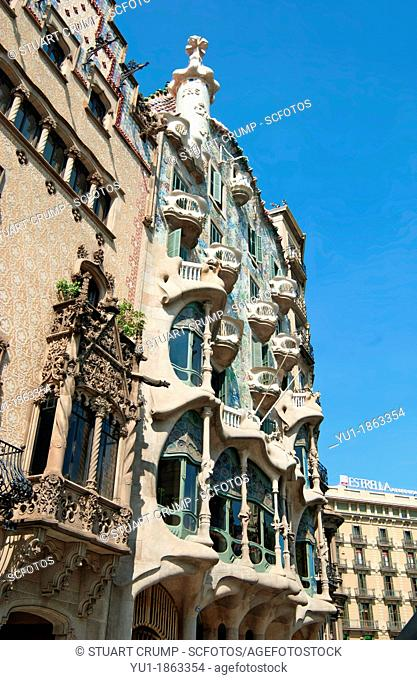 Gaudi's Casa Batlló, Barcelona, Catalonia, Spain, Europe