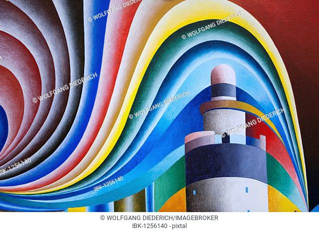 Colored acrylic picture of Hook's Head Lighthouse, County Wexford, Ireland, artist Gerhard Kraus, Kriftel, Germany