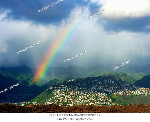 Rainbow over Kahala, a quarter of Honolulu