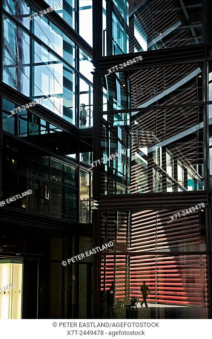 Part of the new futuristic; wing designed by architect Jean Nouvel at the Centro de Arte Reina Sofia in Madrid, Spain