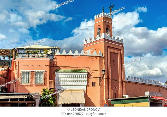 Building on Jamaa el Fna, the main square of Marrakesh, Morocco