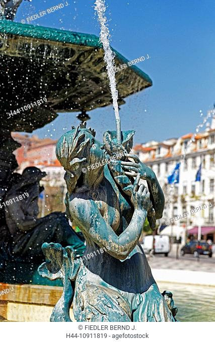 Portugal, Europe, Lisbon, Lisboa, Praca cathedral, dome, Pedro IV, Rossio, French, bronze wells, wells, wells, place, place of interest, landmark, tourism