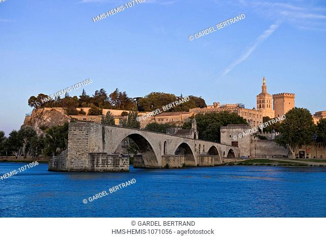 France, Vaucluse, Avignon, the Rhone river with the Palais des Papes (Palace of the Popes) and Pont St Benezet listed as World Heritage by UNESCO