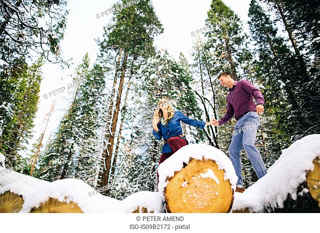 Couple in forest climbing on snow-covered logs