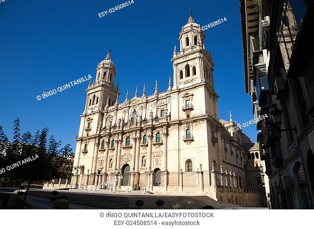 facade landmark of renaissance Cathedral of Asuncion, from XVI century, public monument in Jaen city, Andalusia, Spain Europe
