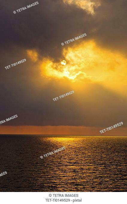 Aegean Sea horizon at sunset