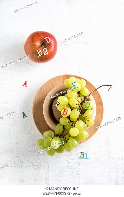 Apple and green grapes, different vitamins