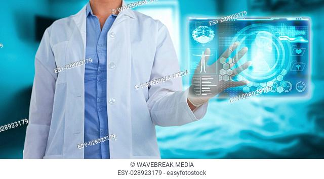 Composite image of midsection of female doctor using digital screen 3d