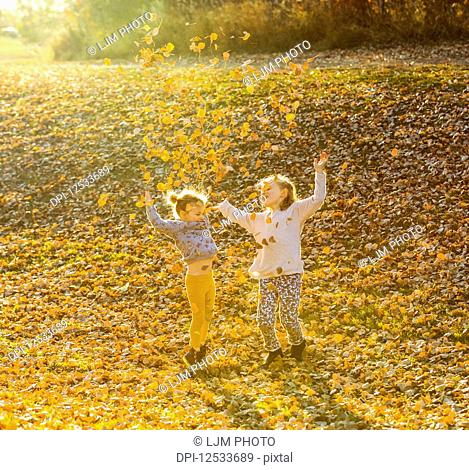 Two young girls playing and throwing leaves in the air in a city park at sunset on a warm fall evening; Edmonton, Alberta, Canada