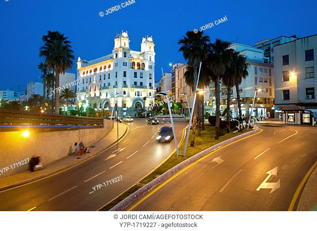 Plaza de la Constitucion Roundabout and Casa Trujillo in background Ceuta  Spain