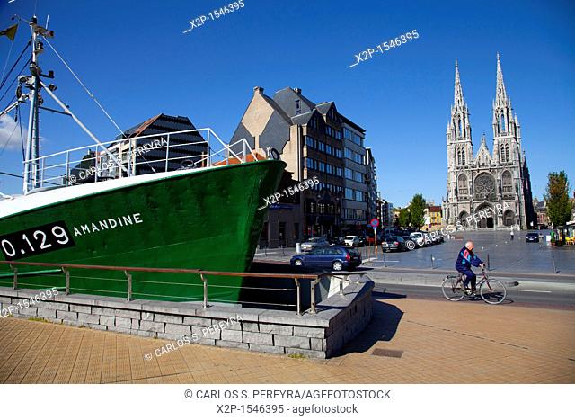 The Amandine, a deep-sea fishing boat converted into a museum, in Ostend, Belgium, Ostend Harbour, Western Flanders, Belgium, Europe