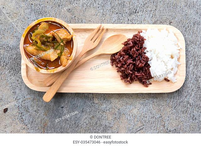 Thai panang curry with white and red rice