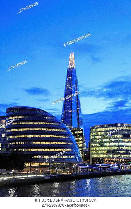 UK, England, London, City Hall, The Shard, skyline,