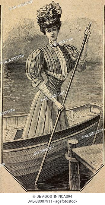 Young woman in a boat, wearing a simple dress with puffed sleeves, engraving from La Mode Illustree, No 29, July 22, 1906