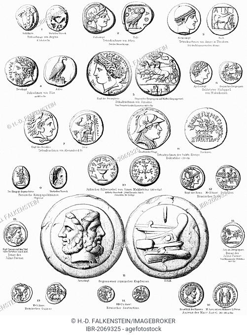 Historical graphic representation, ancient coins from Greece, Italy etc, money from antiquity, numismatics, 19th century