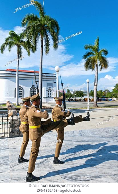 Santiago Cuba soldiers changing guard at Santa Ifigenia Cemetery and mausoleum of Jose Marti marching