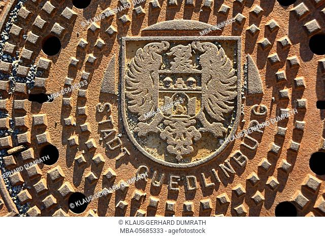 Quedlinburg, gully cover with city arms