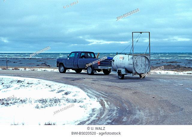 polar bear (Ursus maritimus), transport of a polar bear trap, Canada, Manitoba, Churchill