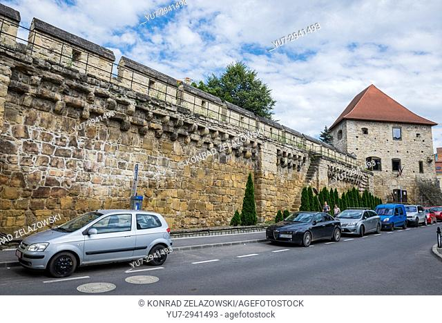 Wall and Tailors Tower on southeast corner of the old Cluj-Napoca citadel in Romania