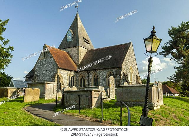 Summer afternoon at St Margaret's church in Ditchling village, East Sussex, England