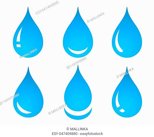 blue water drop set icons on white background
