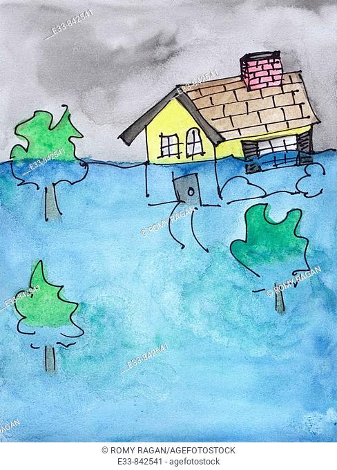 Conceptual illustration of a house under water  Can illustrate physical house under water as in a flood, or a metaphorical house under water as in financial...