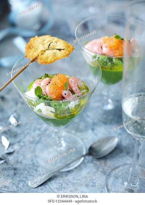 Prawn cocktails with parmesan lollipops