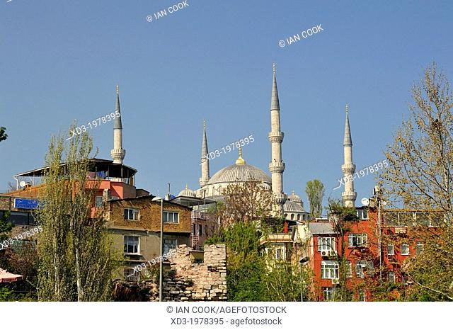 Blue or Sultan Ahmed Mosque viewed from Kennedy Avenue, Istanbul, Turkey