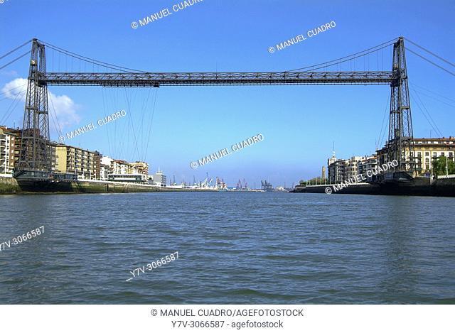 Puente colgante (transporter bridge) over the Ria. Portugalete, Biscay, Basque Country, Spain