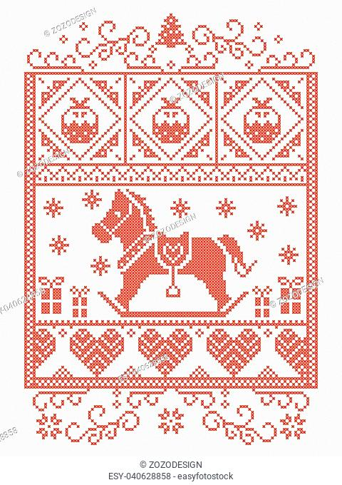 Elegant Christmas Scandinavian, Nordic style winter stitching, pattern including snowflake, heart, rocking horse, Christmas tree, Christmas present snow in red