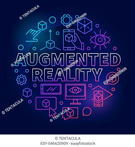 Augmented reality round colored vector illustration made with thin line AR icons on dark background