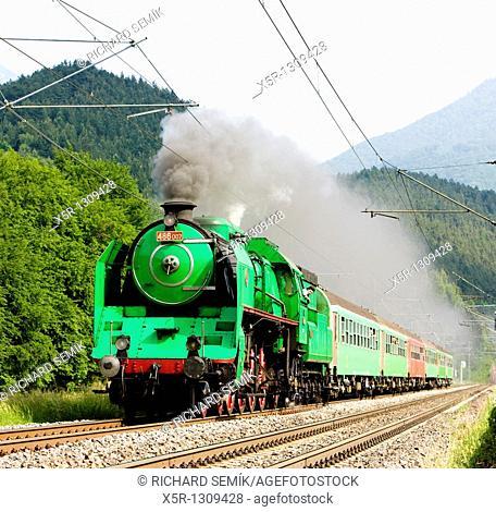 train with steam locomotive Green Anton 486 007, Slovakia