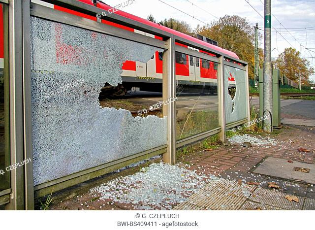glass breakage caused by vandalism at a train station, Germany