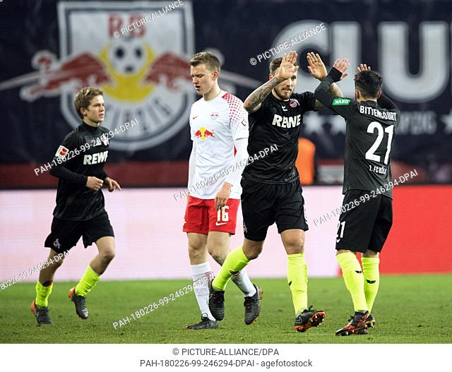25 Febuary 2018, Germany, Leipzig: German Bundesliga soccer match between RB Leipzig and 1. FC Cologne, Red Bull Arena: Cologne's Vincent Koziello