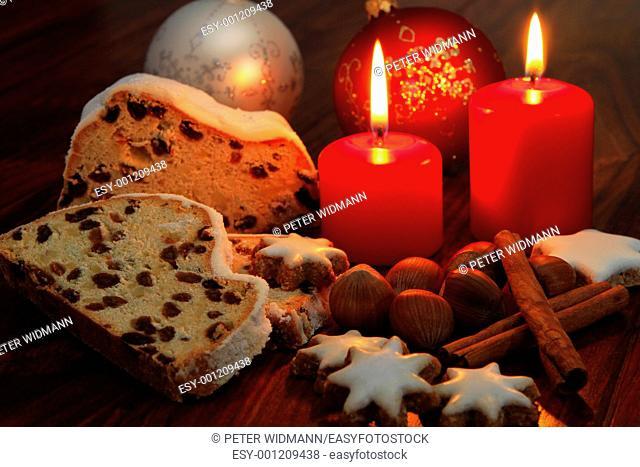 Christmas still life, Cinnamon Stars and Stollen
