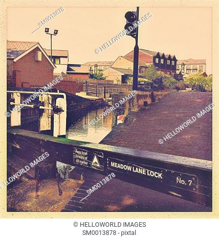 Meadow Lane Lock on the Nottingham Beeston Canal, Nottinghamshire, east Midlands, England