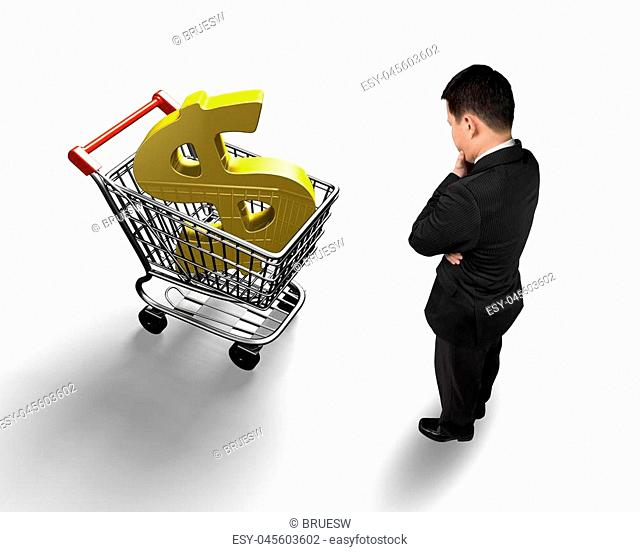 Standing man looking at shopping cart with golden dollar sign, high angle view, isolated on white