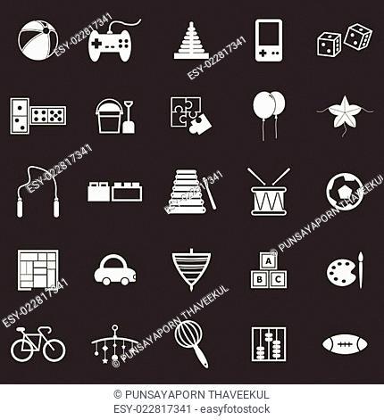 Toy icons on black background
