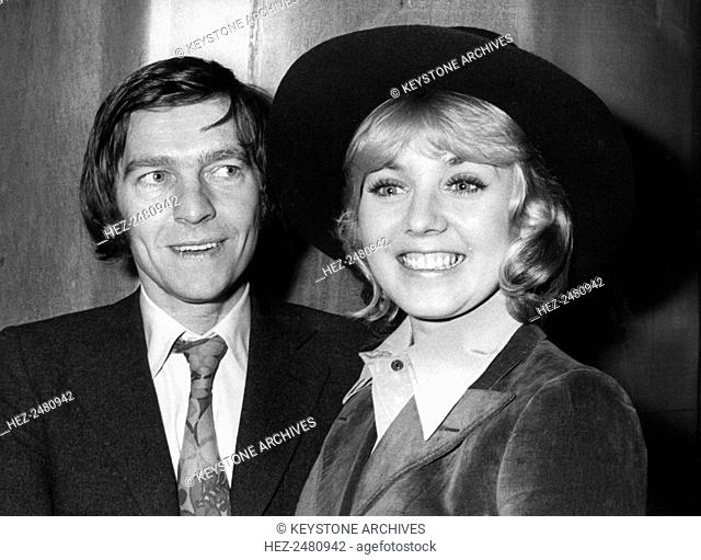 The wedding of actors Tom Courtenay and Cheryl Kennedy, Fulham Register Office, London, 1973. Courtenay (1973) and Kennedy (1947-) were married from 1973 until...