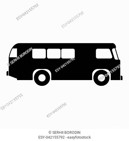 Retro bus icon black color vector illustration flat style simple image