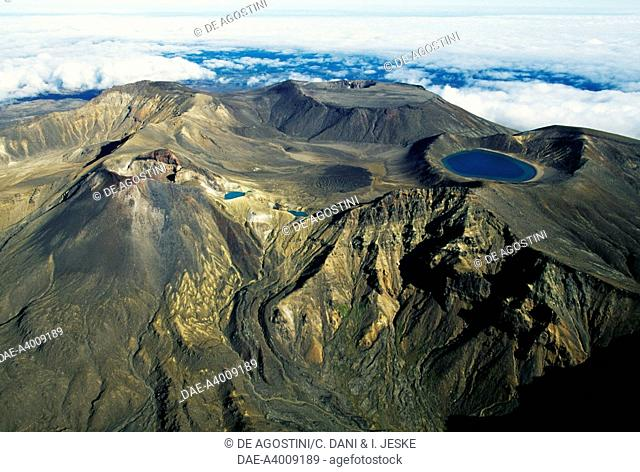 Blue Lake and Emerald Lake, Central Plateau, Tongariro National Park (UNESCO World Heritage List, 1990), North Island, New Zealand. Aerial view