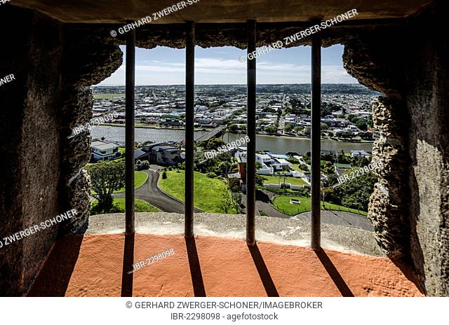 View through a barred window, Durie Hill Memorial Tower, 34 meters high, Wanganui, North Island, New Zealand