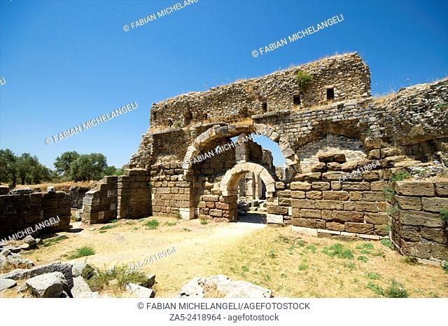 Entrance to the Caldarium or hot section of the Faustina Baths, the wife of Marco Aurelius, 161-180 BC. Miletos. Anatolia, Turkey